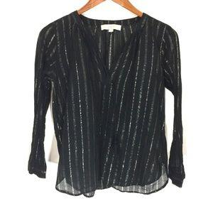 LOFT black sheer stripe popover blouse shirt